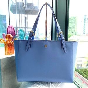 Tory Burch Bow Blue Emerson Buckle Tote